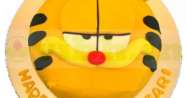 Awe Inspiring Garfield Cat Face Designer Cake Delivery In Delhi From Vibh Delhi Personalised Birthday Cards Veneteletsinfo